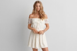 Lace off Shoulder Fit + Flare Dress - American Eagle $60