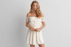 Lace off Shoulder Fit + Flare Dress - American Eagle $60