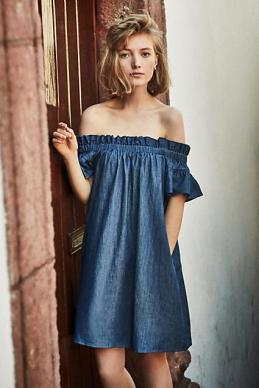 Denim Off-The-Shoulder Dress - Anthropologie $180