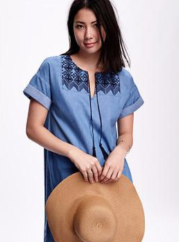 Cocoon Embroidered-Yoke Chambray Dress- Old Navy $26